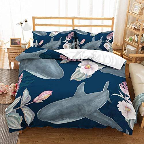 SIONOLY Kids Shark Bettwäscheset 3D Digital gedruckt Grau Weiß Hai Cartoon Pink Floral Ocean Blue Bettwäsche Set für Kinder Jungen Mädchen und Teenager 3PCS mit 1 Bettbezug 2 Pillow Sham
