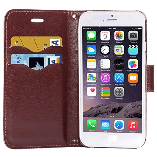 Wkae Case Cover denim textur horizontale flip - ledertasche mit card slots &inhaber für das iphone 6 plus &65 plus ( Color : Dark Blue ) blau