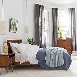 Französische Leinen-Bettwäsche mit zweiKopfkissen von Soak and Sleep - aus 100% reinem französischem Leinen, Leinen, weiß, Square Oxford (65cm x 65cm)
