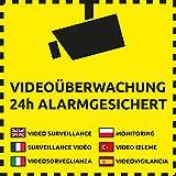 10 Videoüberwachung Aufkleber Videoüberwachung (10 Stück) 105 x 105mm Aufkleber Alarmgesichert 24h Alarmgesichert Aufkleber Sticker, Videoüberwachung Schild überkleben, Kameraüberwachung, Videoüberwachung Aufkleber Videoüberwacht Warnschild, Hinweisschild Alarmgesichert, Aufkleber Einbruch