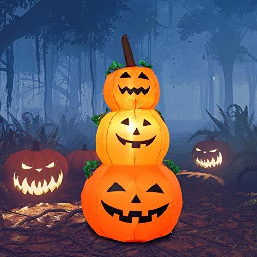 Allowevt Halloween aufblasbare Kürbis-Modell mit 3-Schicht-LED-Licht Kürbislaternen Dekoration Festival Prop für zu Hause im Freien Urlaub Yard Party Ornament -