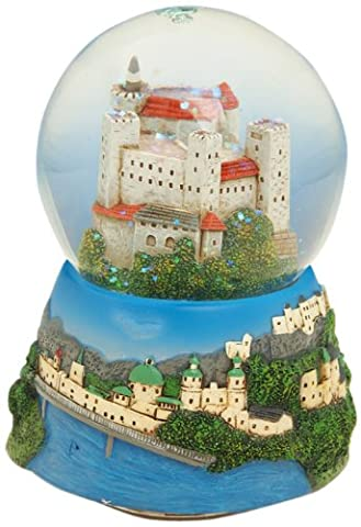 Musicbox World 17507 Salzburger Castle Snow Globe Playing Magic Flute