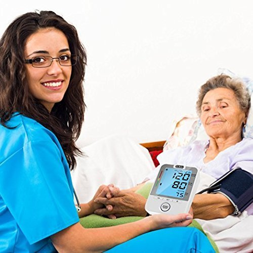 Dr.Meter bpm100 FDA Certification  - Tensiómetro Electrónico Brazo Monitor de Presión Arterial del Brazo Digital con Pulsera Pantalla LCD Retroiluminada