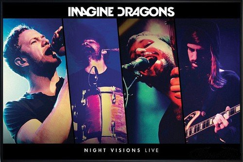 Imagine Dragons Poster Night Visions Live (62x93 cm) gerahmt in: Rahmen schwarz