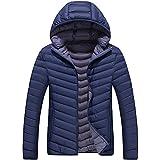 Chaqueta acolchado de otoño / invierno de hombre, Parka forrado bicolor con capucha desmontable, Azul - Bicolor, XL (Etiqueta XXXL)