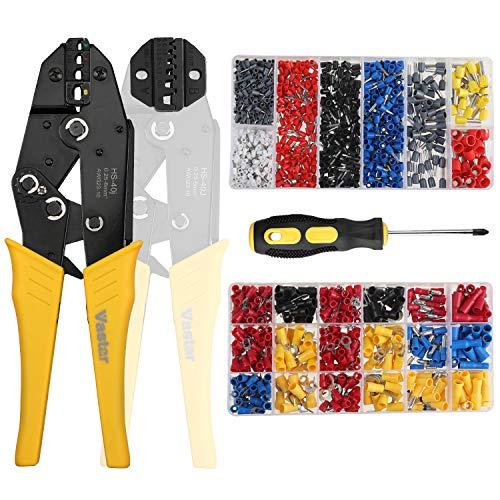 Vastar 2 en 1 Pince à Sertir avec 2 Mâchoires Interchangeables, 370pcs +800pcs Boîtes à Bornes Sertir Isolées, Cosse Electrique, Câble de Cosses 0,25-10,00 mm² et 0,25-6mm² Presse Pinces Outils