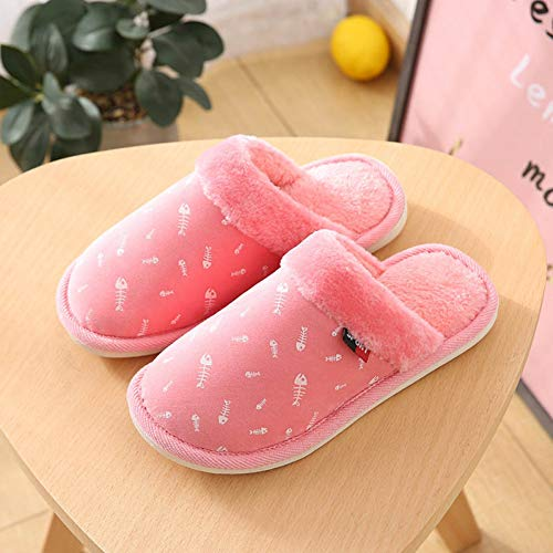 HGJFND Cotton Slippers Frauen Winter Candy Farbe Home Warm Soft Bottom Fur Frauen Schuhe Wohnungen Fischgräten Paar Hausschuhe , 1,41 -