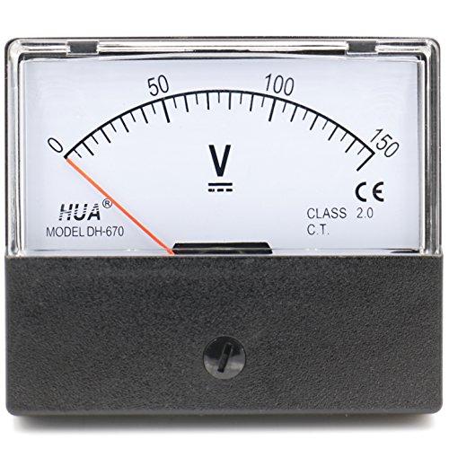 Heschen Rechteckiges Voltmeter analoges Panel Volt Spannungsmesser DH-670 DC 0-150V Klasse 2,0 (Analog 150v)