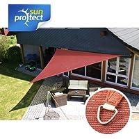 sunprotect 83289 Professional Sonnensegel, 5 x 5 x 7 m, 90° Grad Dreieck, wind- & wasserdurchlässig, rot
