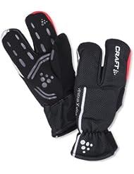Craft - Guantes de tres dedos para adulto (impermeables, cortavientos) negro negro/rojo Talla:XS