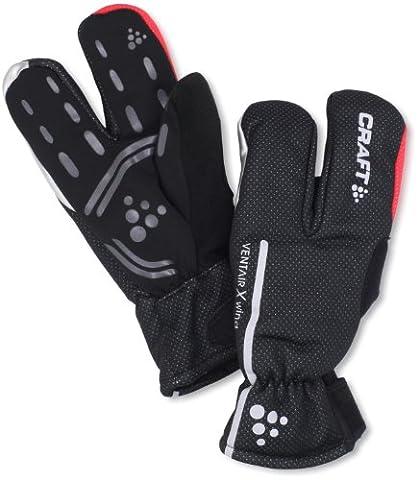 Craft Sibirische 3-Finger Fahrrad-Handschuhe, wind- und wasserdicht L Black/ Bright