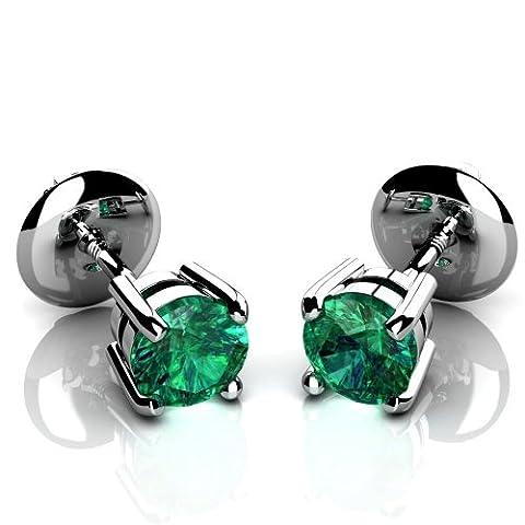 Grün, Natur, 0,35 kt kolumbianischer Smaragd rund Ohrrings Ohrstecker, 14