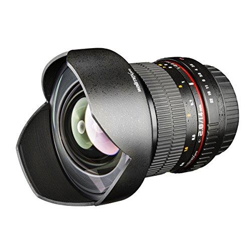 Walimex Pro 14 mm 1:2.8 DSLR-Weitwinkelobjektiv AE (mit fester Gegenlichtblende, für Nikon F Objektivbajonett) schwarz