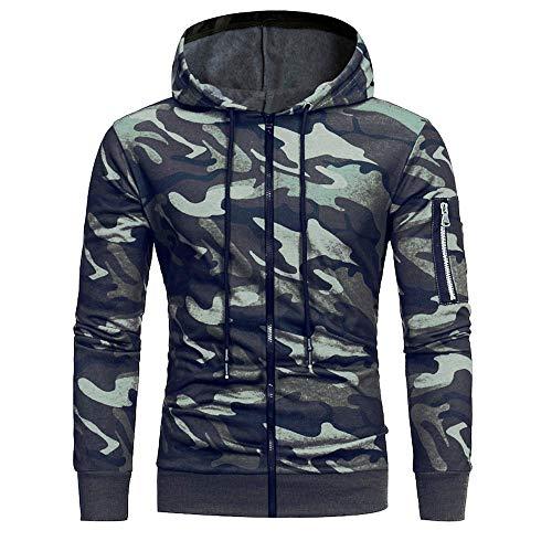 Zegeey Langarm-Camouflage-Hoodie für Herren Zipper-Sweatshirt Tops Jacke Mantel Outwear ()