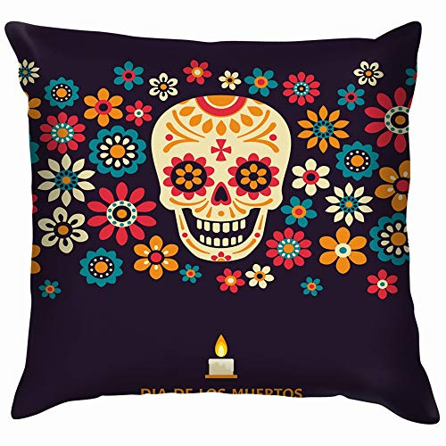 Dia De Los Muertos Day Dead Holidays Soft Cotton Linen Cushion Cover Pillowcases Throw Pillow Decor Pillow Case Home Decor 18X18 Inch (Del Halloween Rituales Dia De)