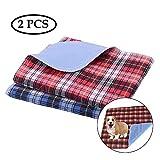 ASOCEA - 2 almohadillas lavables reutilizables para orina de perro, para sofá, cama, asiento de coche, gatos, cachorros, orinales, almohadillas de entrenamiento a cuadros, color rojo y azul