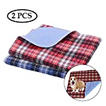 ASOCEA 2PCS Washable Dog Pee Pads Reusable Sofa Bed Car Seat Protector Mat Waterproof for Pet Cat Puppy Potty Training Pads Red Blue Plaid