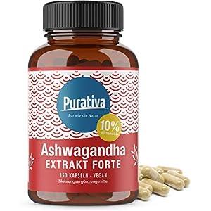 Ashwagandha Extrakt Kapseln – 10% Withanolide – hochdosiert – 150 Kapseln – Kein Magnesiumstearat – 100% Vegan – Made in Germany