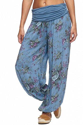 JillyMode wunderschöne Leichte Haremshose in Viele Muster Gr.44-Gr.50 OneSize (A1077XXXXL-Duftrosen-Jeansblau)