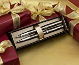 Parker IM Fountain & Rollerball Pen Gift Set - Gunmetal Chrome Trim with Custom Engraving in 'Roman' Font