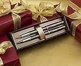 Parker Rollerball Parker IM Füllfederhalter und Geschenk-Set–Gunmetal Chromrand mit Custom Gravur in 'Roman' Schriftart