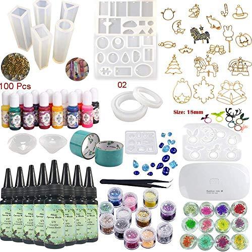 Epoxidharz-UV-Kleber-Kit Crystal Clear Transparent mit Lampe Pinzette 36 Dekorationen 11 Silikonformen 13 Farbe flüssige Pigmente 17 Blenden für Anhänger + 2 Bänder 100 Ösen für Schmuckherstellung