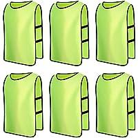 6 X Senston Deportes pinnies adulto Scrimmage chalecos de entrenamiento de fútbol baberos fluorescente verde y 3 Tamaño