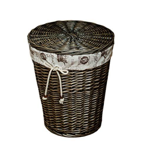 Portabiancheria kky-enter rattan con coperchio cesto della biancheria in cotone fodera in lino sporco cesto portaoggetti cesto portaoggetti (colore : grigio scuro, dimensioni : 32 * 43 * 50cm)