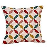 Xmiral Kissenbezüge Pillowcase Geometrisch Bedruckte Baumwollleinen Bettkissenbezug Zierkissenbezüge(D)