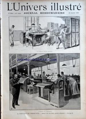 UNIVERS ILLUSTRE (L') [No 2340] du 27/01/1900 - L'ATELIER DE L'IMPRIMERIE - LA FABRICATION DES TIMBRES POSTE - LE GOMMAGE (ANCIEN PROCEDE) - LES EVENEMENTS DU TRANSVAAL - L'ENROLEMENT DES VOLONTAIRES A LONDRES.