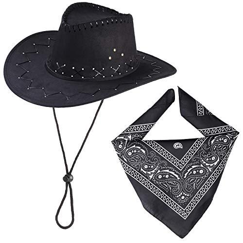 Beefunny Cowboy Hut und Paisley Bandana Wild Western Kostüm Zubehör Set Gr. 85, Schwarz (Cowboy Kostüm Zubehör Hut)