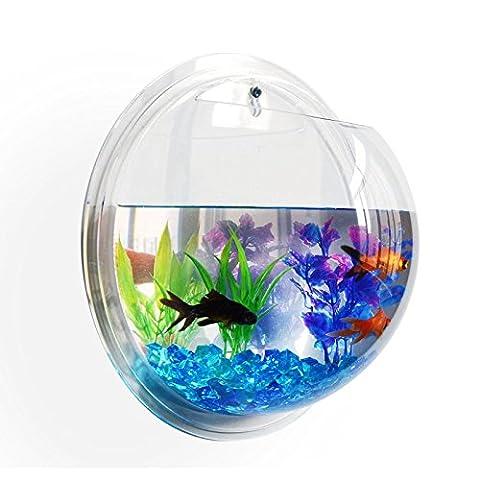 Etophigh Wandbehang Aquarium Fisch Wall Mount Fish Bowl Blume Pflanze