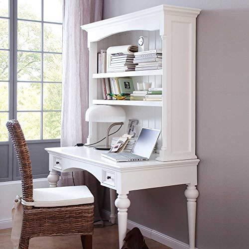Pharao24 Schreibtisch mit Aufsatzregal Landhausstil Weiß
