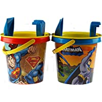 Set Of 2 Batman / Superman Beach Buckets, Sieve, Rake And Spade Beach Sets
