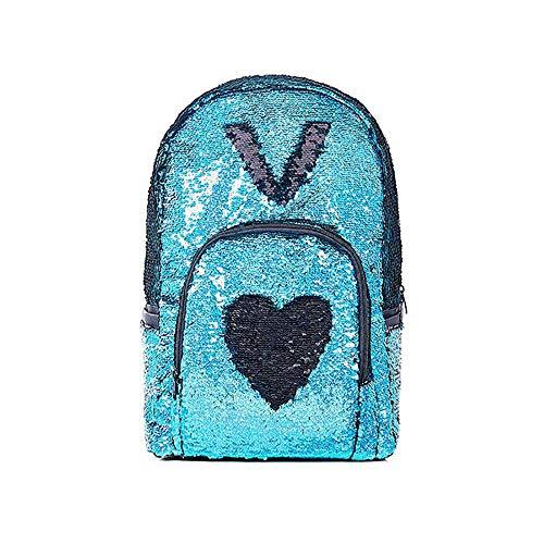 AOLVO Glitzer-Pailletten-Rucksack, wendbar, Pailletten-Rucksack, Tagesrucksack, für Teenager, Mädchen, modisch, für Studenten, Schule, Bücher, Schultertaschen für Mädchen/Frauen blau