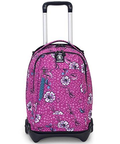 Trolley invicta - plug - rosa - zaino sganciabile e lavabile - scuola e viaggio 35 lt