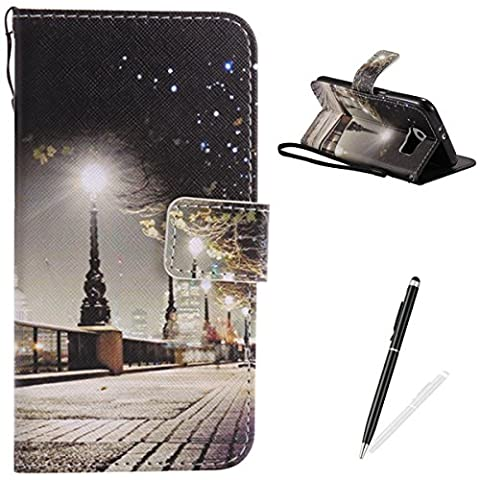 Samsung Galaxy S6 Case,Feeltech Elegant Premium Flip PU Leather Wallet Cover with Magnetic Closure Stand Function Protective [Free 2 in 1 Stylus] Credit Card Slots Holder and Money Pouch Vintage Retro Cartoon Pattern Design Flip Book Style Cover Case With Hand Strap for Samsung Galaxy S6 - London Street