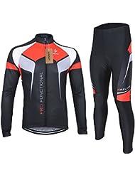 Lixada Homme maillot velo + Pantalons de Cyclisme Manches Longues Respirant Vêtements de Cyclisme