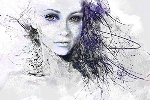 Photonic Wallart, Verlockende nachleuchtende Leinwandbild, das Mädchen aus Träume, Kunstdruck fertig auf Keilrahmen gespannt 80 cm x 120 cm