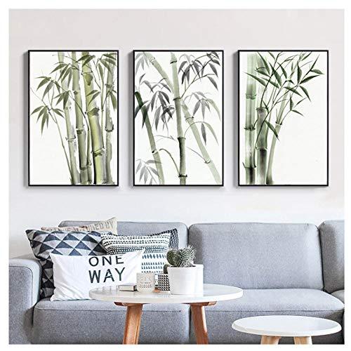 chtshjdtb Bambus Wandkunst Bilder Leinwand Gemälde Poster Drucken Nordic Gemälde auf Leinwand für Wohnzimmer Schlafzimmer Dekoration-50x70 cm Kein Rahmen