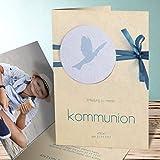 Kommunion Einladung, Kraftvoll 15 Karten, Vertikale Klappkarte 105x148 inkl. weiße Umschläge, Blau