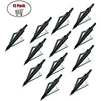 Paquete de 12 Flechas Broadheads 3 cuchillas Tiro con arco Flechas Cabezas 100 granos para ballesta y arco compuesto (Negro)