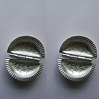 Navisha Aluminium Gujia Mould (Silver, 9x6cm) - Set of 2