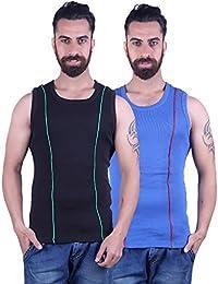 Odoky Black & Royal Blue Men's Vest Pack Of 2