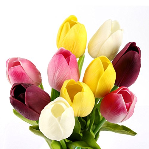 Price comparison product image Vioela 10pcs Elegant Soft Touch Tulip Flower Latex Artificial Flexible Bendable Stems Flowers for Wedding Bouquets Garden Decor Birthday Christmas Gift - Assorted Color