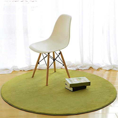 CAMAL Teppiche, Runde Koralle Samt Dekorative Teppich Wohnzimmer Schlafzimmer und Bad (Gras-grün, 100 cm) - Gras-teppich Badezimmer