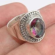 Mystic Quartz Gemstone 925 Sterling Silver Rings Handmade Jewelry