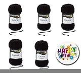 5er Set CATANIA 0110 SCHWARZ SCHACHENMAYR Qualität Wählen Sie Ihre Traumfarben aus der Farbkarte 2 - 5 x 50g Knäuel, Lauflänge ca. 125m / 50g Knäuel, Nadelstärken 2,5 bis 3,5mm + Button Happy Birthday