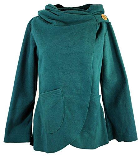 Guru-Shop Fleece Cape Wickeljacke, Damen, Petrol, Kunstfaser, Size:L (40), Boho Jacken, Westen Alternative Bekleidung