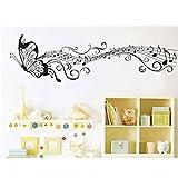 Schwarze Schöne Schmetterling Notizen Wandaufkleber (Abnehmbar, Wasserdicht, Grün) für Wohnzimmer Schlafzimmer Büro Schlafsäle Musik Zimmer Hintergrund Dekoration,Schwarz